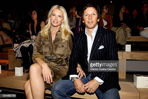 Valeria Mazza and Alejandro Gravier attends the Salvatore Ferragamo Womenswear Spring/Summer 2011 show during Milan Fashion Week on September 26 2010...