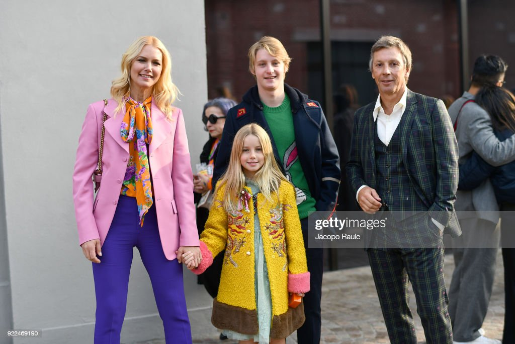 Valeria Mazza, Benicio Gravier, Taina Gravier and Alejandro Gravier are seen leaving the Gucci show during Milan Fashion Week Fall/Winter 2018/19 on February 21, 2018 in Milan, Italy.