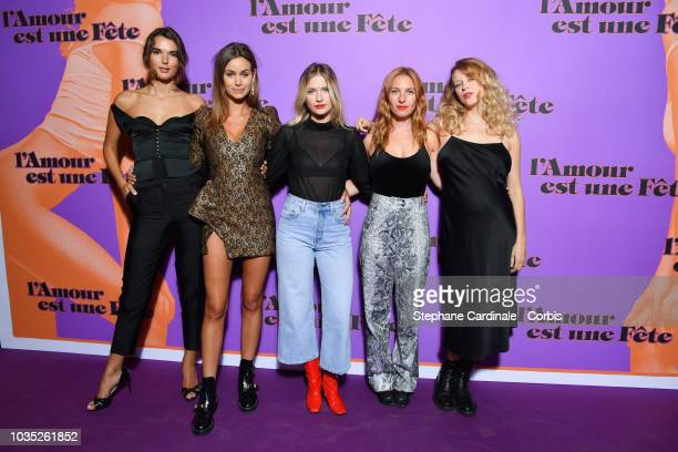 Valeria Nicov Elisa Bachir Bey Camille Razat Josephine de la Baume and Inge van Bruystegem attend 'L'amour Est Une Fete' Paris Premiere at Cinema Max...
