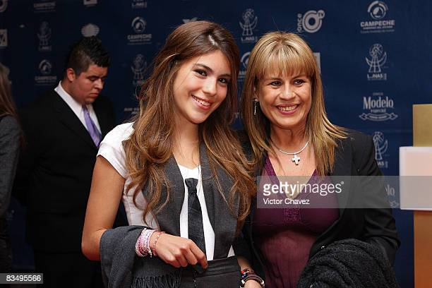 Valeria Perdigon and her mother Leticia Perdigon attends the red carpet for Lunas del Auditorio at Auditorio Nacional on October 29, 2008 in Mexico...