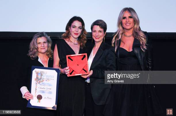 Valeria Rumori Claudia Gerini Silvia Chiave and Tiziana Rocca pose for a photo at the 2020 Filming Italy Awards at the Italian Cultural Institute on...