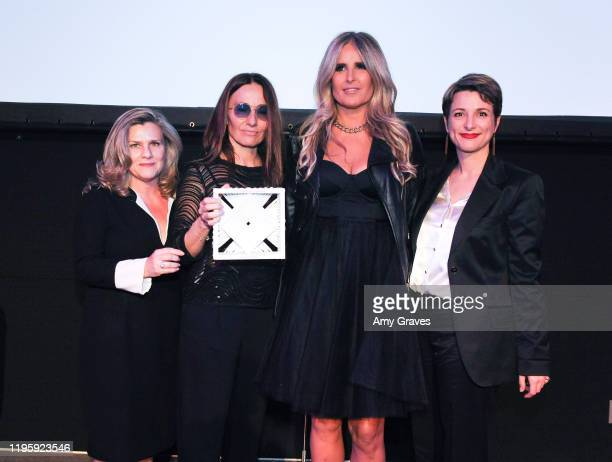 Valeria RumoriMaria Sole Tognazzi Tiziana Rocca and Silvia Chiave pose for a photo at the 2020 Filming Italy Awards at the Italian Cultural Institute...
