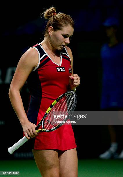 Valeria Solovyeva of Russia gestures during the Women's singles on the first day of Kremlin Cup 2014 25th International Tennis Tournament at the...