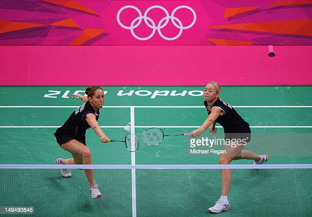 Valeria Sorokina and Nina Vislova of Russia return against Yang Yu and Xiaoli Wang of China in Women's Doubles Badminton on Day 2 of the London 2012...