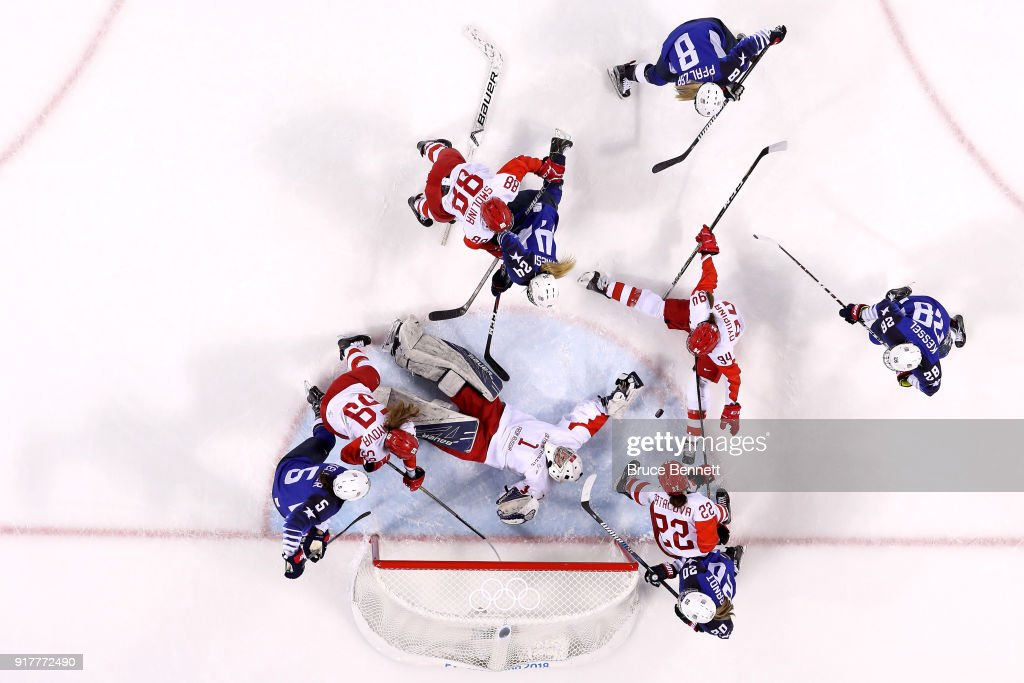 Valeria Tarakanova #1 of Olympic Athlete from Russia attempts to make a save in the second period against the United States during the Women's Ice Hockey Preliminary Round - Group A game on day four of the PyeongChang 2018 Winter Olympic Games at Kwandong Hockey Centre on February 13, 2018 in Gangneung, South Korea.