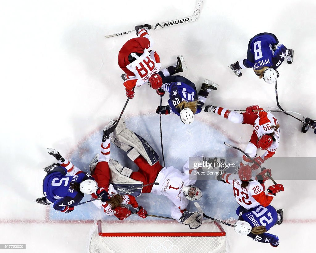 Valeria Tarakanova #1 of Olympic Athlete from Russia lies on the ice as she attempts to make a save in the second period against the United States during the Women's Ice Hockey Preliminary Round - Group A game on day four of the PyeongChang 2018 Winter Olympic Games at Kwandong Hockey Centre on February 13, 2018 in Gangneung, South Korea.