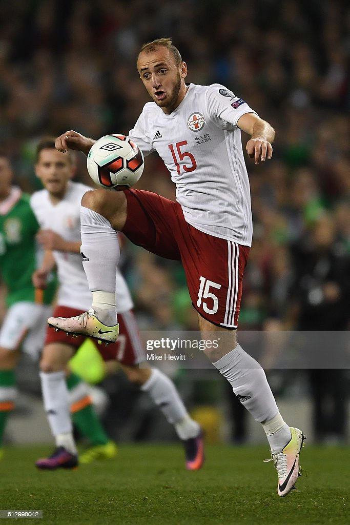 Valerian Gvilia of Georgia in action during the FIFA 2018 World Cup Group D Qualifier between Republic of Ireland Georgia at the Aviva Stadium on October 6, 2016 in Dublin, Ireland.