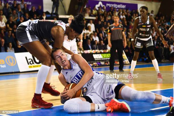 Valeriane Ayayi of Villeneuve d Asq and Elodie Godin of Montpellier during the women's french League final match between Montpellier Lattes and...