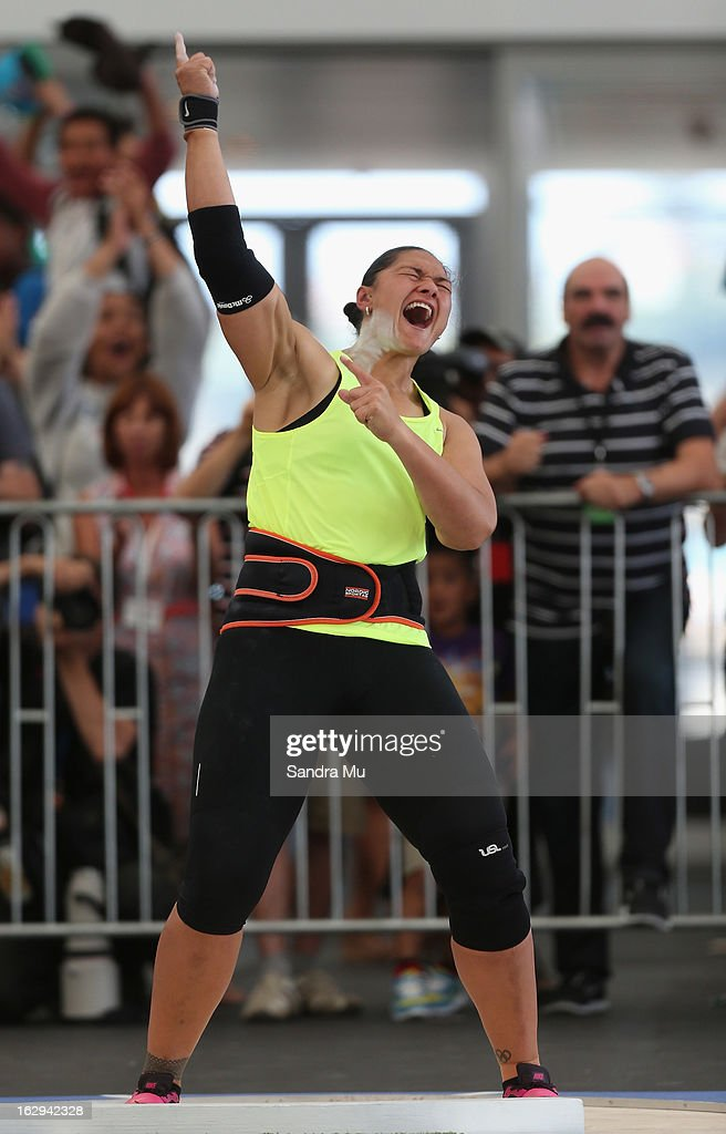 Valerie Adams celebrates her Oceania record as she competes in The Shot In The City at The Cloud on Queen's Wharf on March 2, 2013 in Auckland, New Zealand.