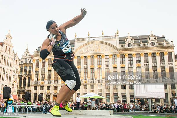 Valerie Adams of New Zealand competes during the Women Shot Put as part of the AG Insurance Memorial Van Damme IAAF Diamond League meeting at the...