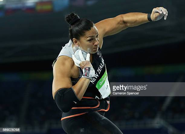 Valerie Adams of New Zealand competes during the Women's Shot Put Final on Day 7 of the Rio 2016 Olympic Games at the Olympic Stadium on August 12...