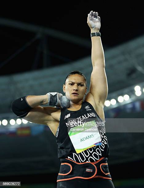 Valerie Adams of New Zealand competes during the Women's Shot Put Final on Day 7 of the Rio 2016 Olympic Games at the Olympic Stadium on August 12,...