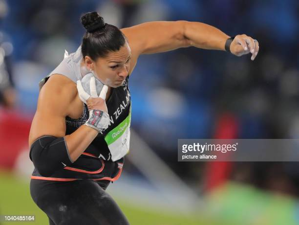 Valerie Adams of New Zealand competes in Women's Shot Put Final of the Athletic Track and Field events during the Rio 2016 Olympic Games at Olympic...
