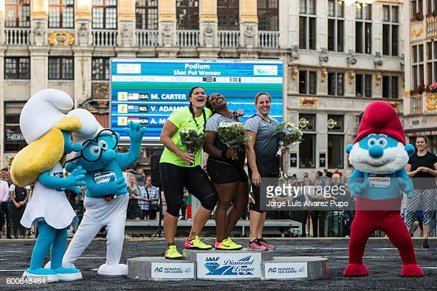 Valerie Adams of New Zealand Michelle Carter of the United States and Anita Marton of Hungary pose on the podium after the shot put event as part of...