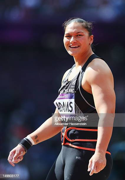 Valerie Adams of New Zealand smiles as she competes in the Women's Shot Put qualification on Day 10 of the London 2012 Olympic Games at the Olympic...