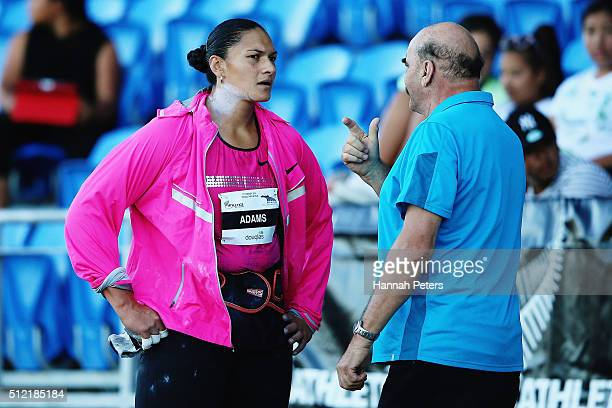 Valerie Adams talks with her coach JeanPierre Egger during the Women's Shot Put final during the Auckland Track Challenge at The Trusts Arena on...