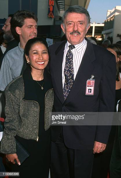 Valerie Ann Sandobal and John Astin during The Frighteners World Premiere at Cineplex Odeon Theater in Universal City California United States