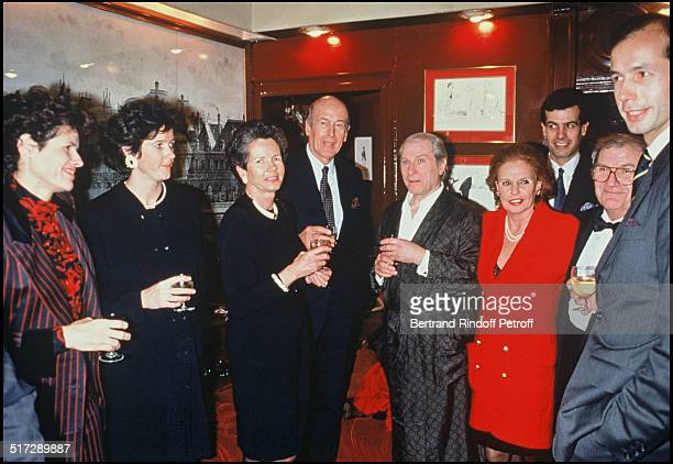 Valerie Anne Jacinte Anne Aymone Valery Giscard D'Estaing during the his birthday with Jean Poiret Pierre Mondy Henri and Louis Joachim Giscard...