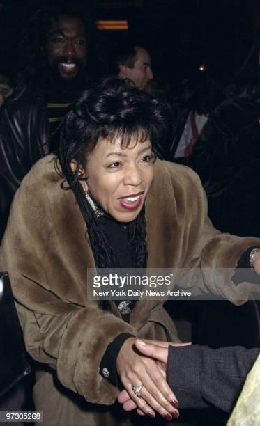 Valerie Ashford says hello at the Balthazar restaurant where a reception was held honoring Toni Morrison's new novel Paradise