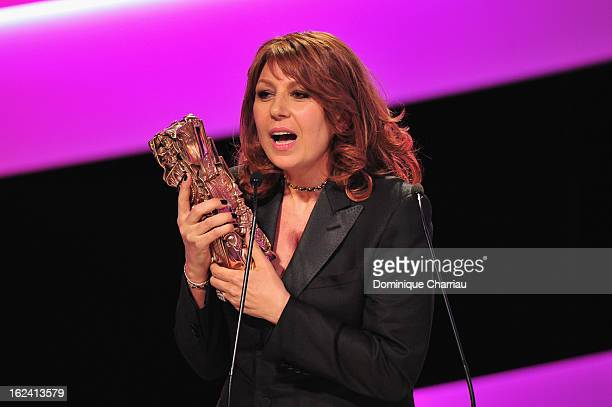 Valerie Benguigui receives the Best Supporting Actress Cesar for 'Le prenom' during the 37th Cesar Film Awards Cesar Film Awards 2013 at Theatre du...
