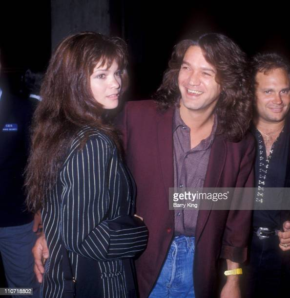 "Valerie Bertinelli and Eddie Van Halen during ""Batman"" Los Angeles Premiere at Mann Village theater in Westwood, California, United States."