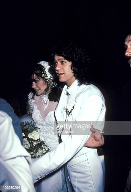 Valerie Bertinelli and Eddie Van Halen during Wedding of Eddie Van Halen and Valerie Bertinelli at St Paul's Catholic Church in Westwood California...