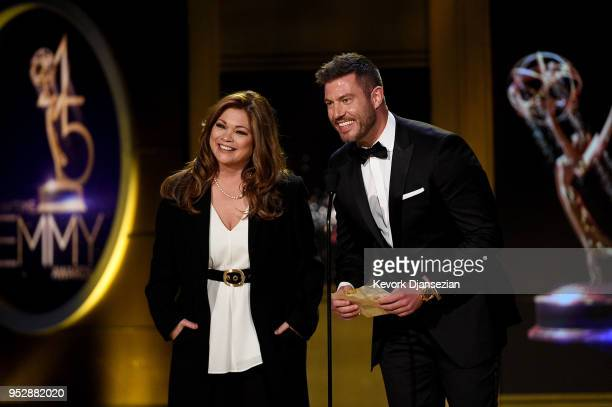 Valerie Bertinelli and Jesse Palmer speak onstage during the 45th annual Daytime Emmy Awards at Pasadena Civic Auditorium on April 29 2018 in...