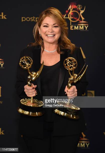 Valerie Bertinelli poses with the Daytime Emmy Awards for Outstanding Culinary Program and Outstanding Culinary Host during the 46th annual Daytime...