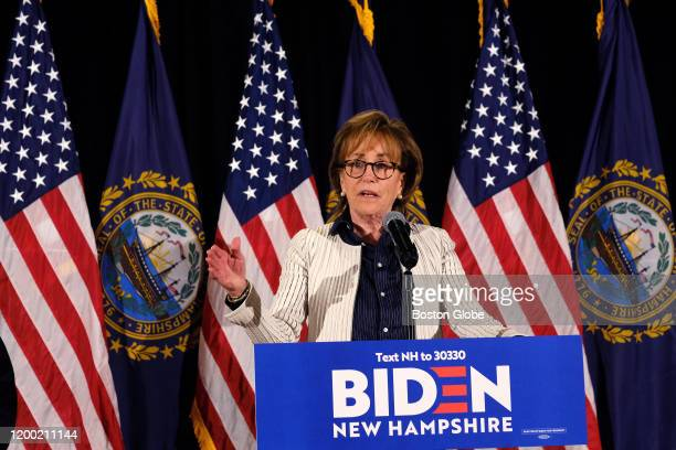 Valerie Biden Owens takes the podium at a primary election night watch party in place of her brother former Vice President Joe Biden who left New...