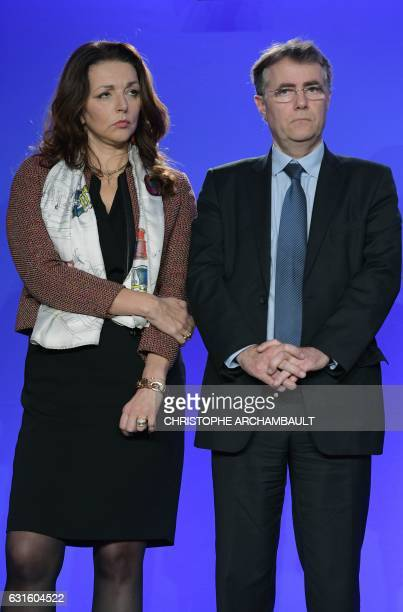 Valerie Boyer and Serge Grouard team members of Les Republicains rightwing party candidate for the French 2017 presidential election Francois Fillon...