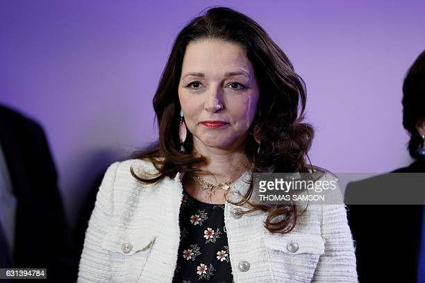 Valerie Boyer the spokeperson of right wing Republican party candidate for the French 2017 presidential election attends his his New Year wishes to...