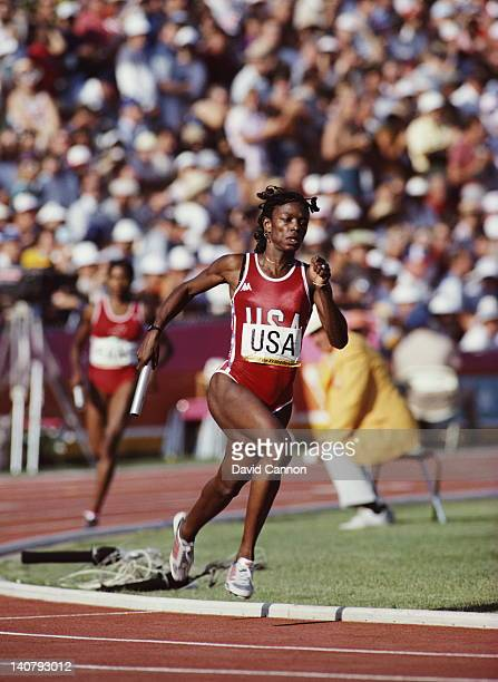 Valerie BriscoHooks of the United States carries the baton during the Women's 4 × 400 metres Relay event on 11th August 1984 during the XXIII Olympic...