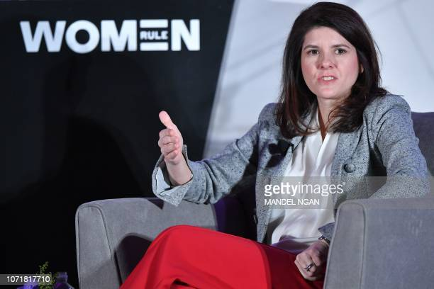Valerie Camillo Chief Revenue Marketing Officer Washington Nationals Baseball Club speaks during the 6th Annual Women Rule Summit at a hotel in...
