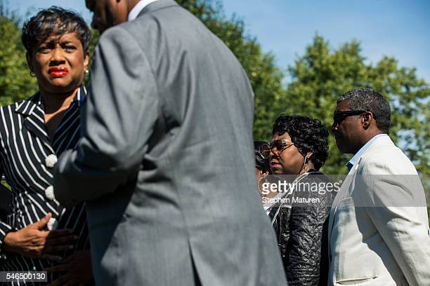 Valerie Castile and the family and attorney of Philando Castile arrive at a press conference on July 12 2016 in St Paul Minnesota Judge Glenda...