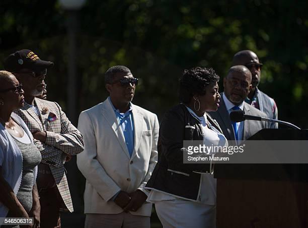 Valerie Castile mother of Philando Castile speaks at a press conference on July 12 2016 in St Paul Minnesota Judge Glenda Hatchett former Chief Judge...