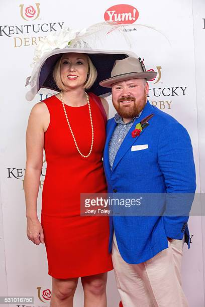 Valerie Combs and chef Kevin Gillespie attends the 142nd Kentucky Derby at Churchill Downs on May 07 2016 in Louisville Kentucky