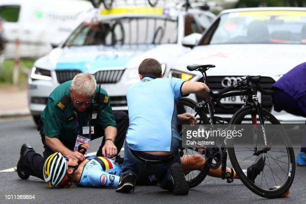 Valerie Demey of Belgium recieves medical treatment after a collision in the Women's Road Race during the Road Cycling on Day Four of the European...