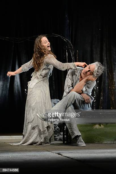 Valerie Doucet and James Thierree of Compagnie du Hanneton perform on stage 'The Toad Knew' during the Edinburgh International Festival at King's...
