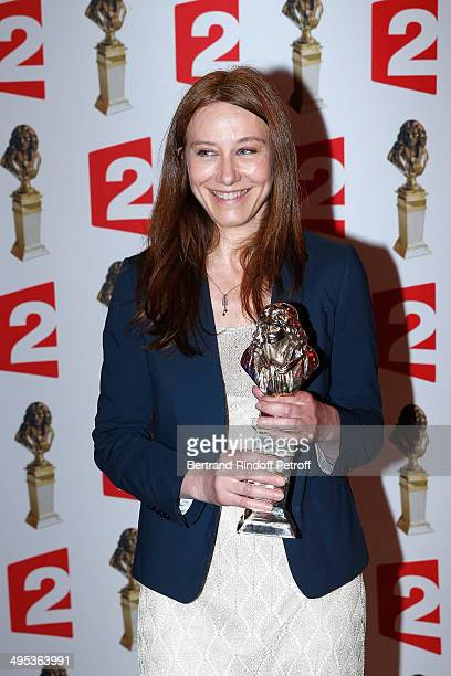 """Valerie Dreville, winner of the Moliere of the actress in a show of public theater for """"Les Revenants"""" poses with her price after the 26th Molieres..."""