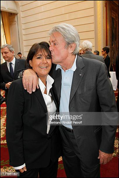 Valerie Expert Alain Delon at Actress Mireille Darc Received As Commander In the National Order Of Merit During Ceremony At Elysee Palace