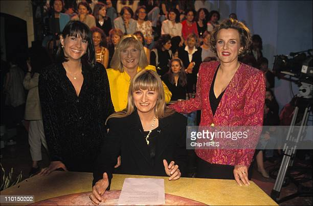 Valerie Expert Joelle Goron Christine Bravo and Laurence Cochet in The last emission of the TV show 'Frou Frou' in France on June 02 1994