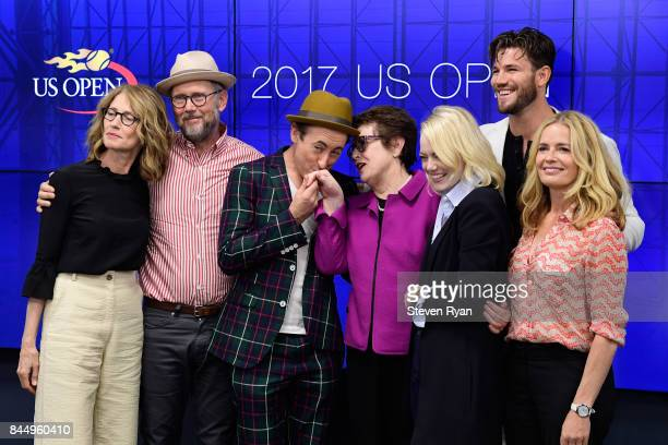 Valerie Faris Jonathan Dayton Alan Cumming Billie Jean King Emma Stone Austin Stowell and Elisabeth Shue pose during a press conference for the...