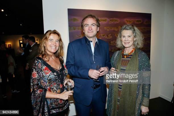 "Valerie Gans, Didier van Cauwelaert and Valerie Laffont attend ""Sans Titre"" Valerie Gans's Book Signing during ""Les Pionnieres"" Exhibition at Galerie..."