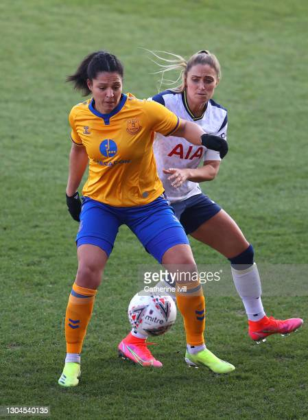 Valerie Gauvin of Everton battles for possession with Shelina Zadorsky of Tottenham Hotspur during the Barclays FA Women's Super League match between...