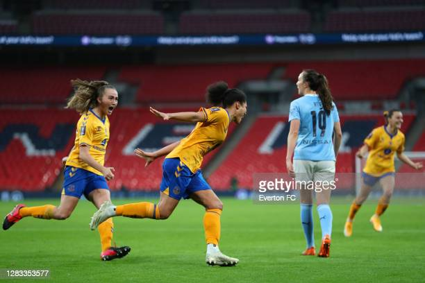 Valerie Gauvin of Everton celebrates after scoring her team's first goal during the Vitality Women's FA Cup Final match between Everton Women and...