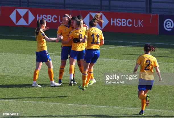 Valerie Gauvin of Everton celebrates with team mates after scoring their side's first goal from the penalty spot during the Barclays FA Women's Super...