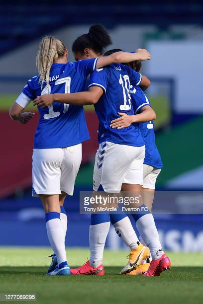 Valerie Gauvin of Everton Women as she celebrates her goal with team mate Lucy Graham during the Women's FA Cup Quarter Final match between Everton...