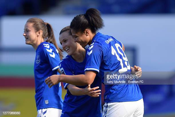 Valerie Gauvin of Everton Women as she celebrates her goal with team mates Hayley Raso and Danielle Turner during the Women's FA Cup Quarter Final...