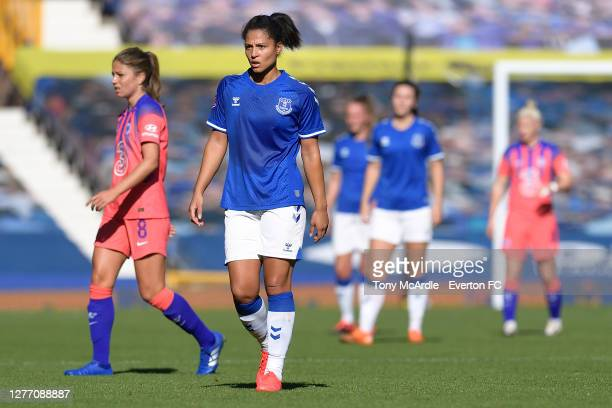 Valerie Gauvin of Everton Women during the Women's FA Cup Quarter Final match between Everton and Chelsea at Goodison Park on September 27 2020 in...