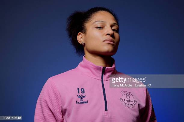Valerie Gauvin of Everton Women poses for a photo at USM Finch Farm on October 29 2020 in Halewood, England.